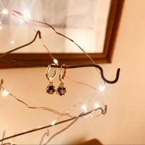 Jewelry - Deep blue rhinestone w gold caging earrings
